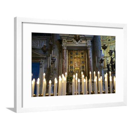 Italy, Tuscany, Pisa, Piazza Dei Miracoli. Inside the Duomo, Electric Candles and Painting Framed Print Wall Art By Michele