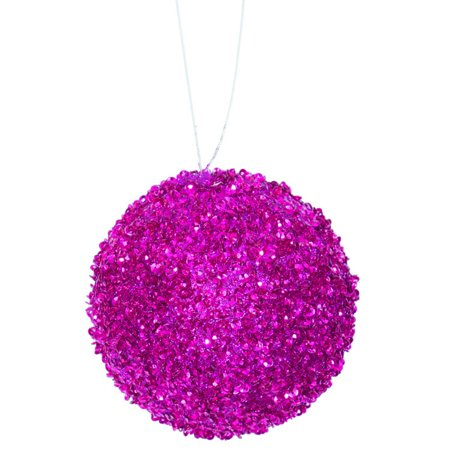 3ct Fuschia Sequin and Glitter Drenched Christmas Ball Ornaments 4.75 (120mm)