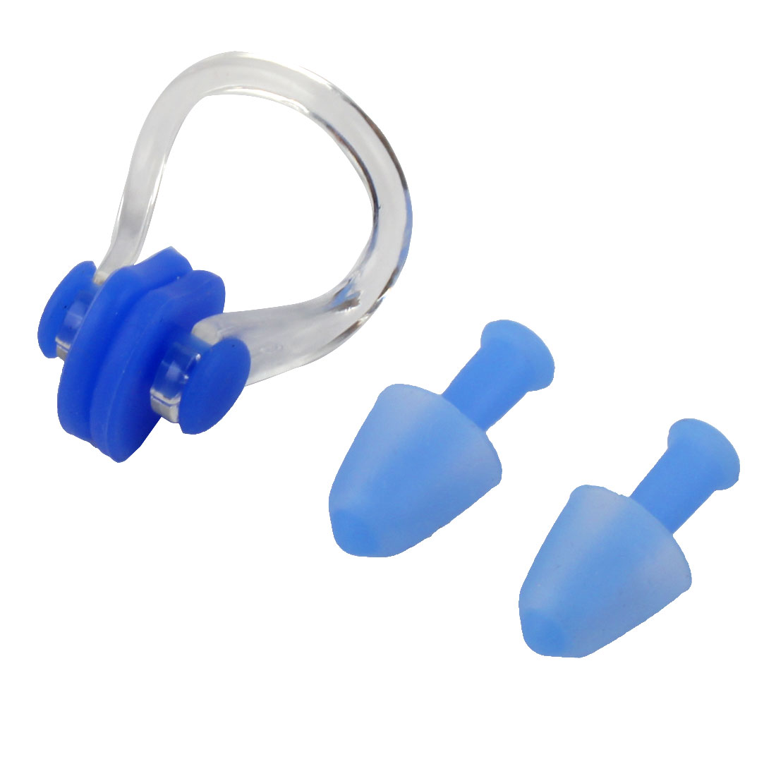 Swimming Soft Silicone Water Resistant Earplugs Nose Clip Protactor Blue Set