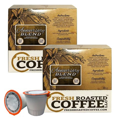 Fresh Roasted Coffee LLC, Anniversary Blend Coffee Pods, Medium Roast, Artisan Blend, Capsules Compatible with 1.0 & 2.0 Single-Serve Brewers, 36 Count