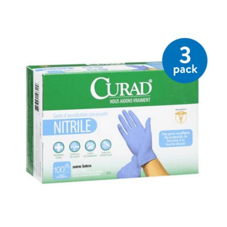 (3 Pack) Curad Nitrile Powder-Free Exam Gloves, 100 ct