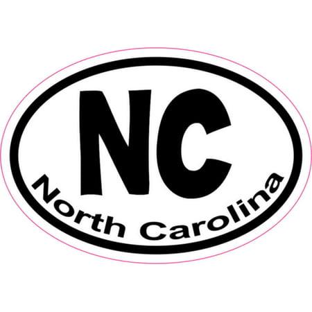 3in x 2in Oval NC North Carolina Sticker Vinyl Window State Bumper Decal