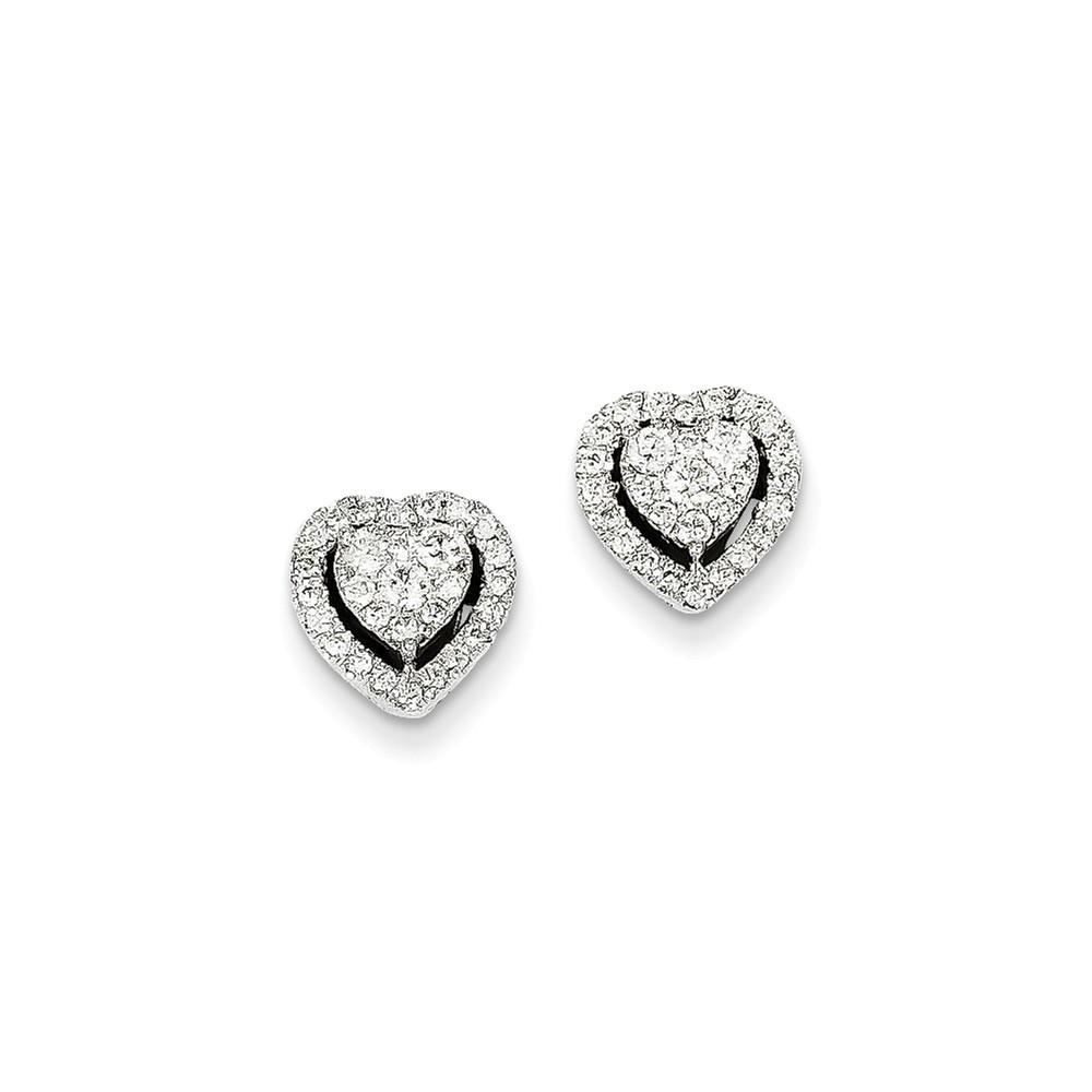 14K White Gold Diamond Earrings. Carat Wt- 0.5ct (9MM)