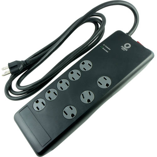 Power Gear 8-Outlet Advanced Power Strip Surge Protector, 7ft. Power Cord, Black, 12996