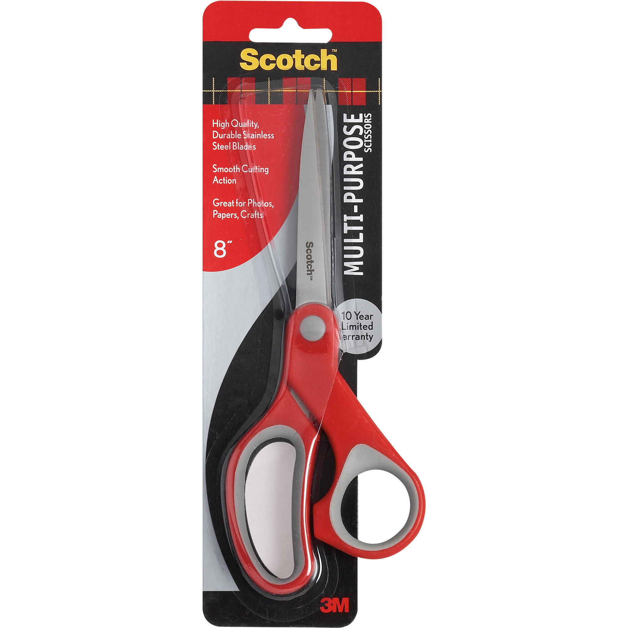 "3M Scotch 8"" Multi-Purpose Scissors, Red"
