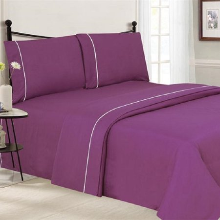 - J&V Textiles 4 Piece Ultra Luxe Wrinkle Free Embossed Pipeline Sheet Set
