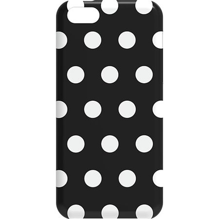 New OEM M-Edge Apple iPhone 5C Black White Polka Dots Snap Shell Cover