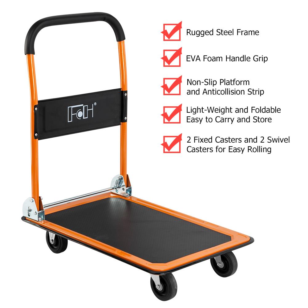 Ktaxon 330lbs Foldable Platform Truck, Premium 4-wheeled Handy Moving Push Trolley Dolly Cart, for Office, Garage, Home, Warehouse Use, Orange