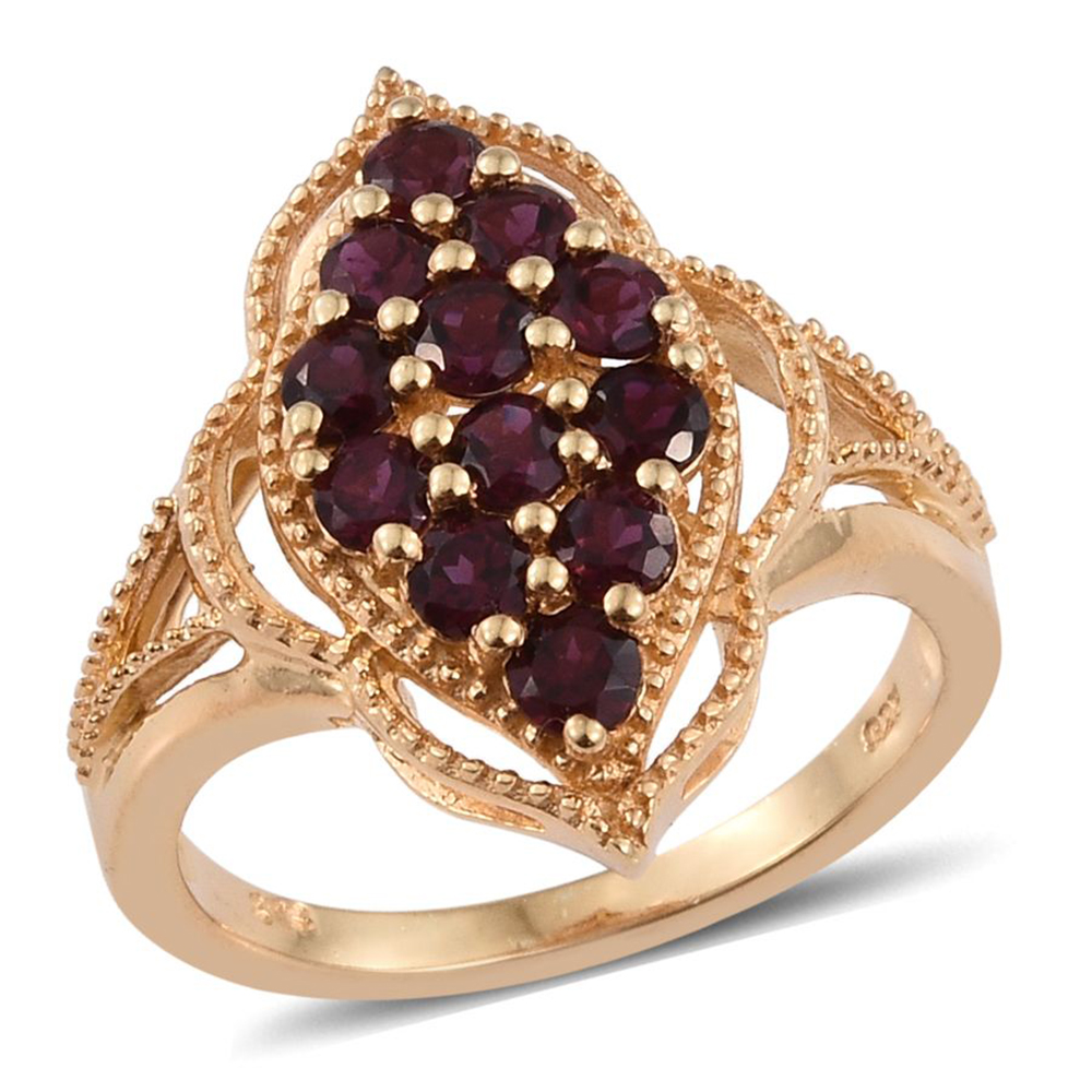 Anthill Garnet 14K Yellow Gold Plated Silver Ring 1.68 cttw. by Shop LC
