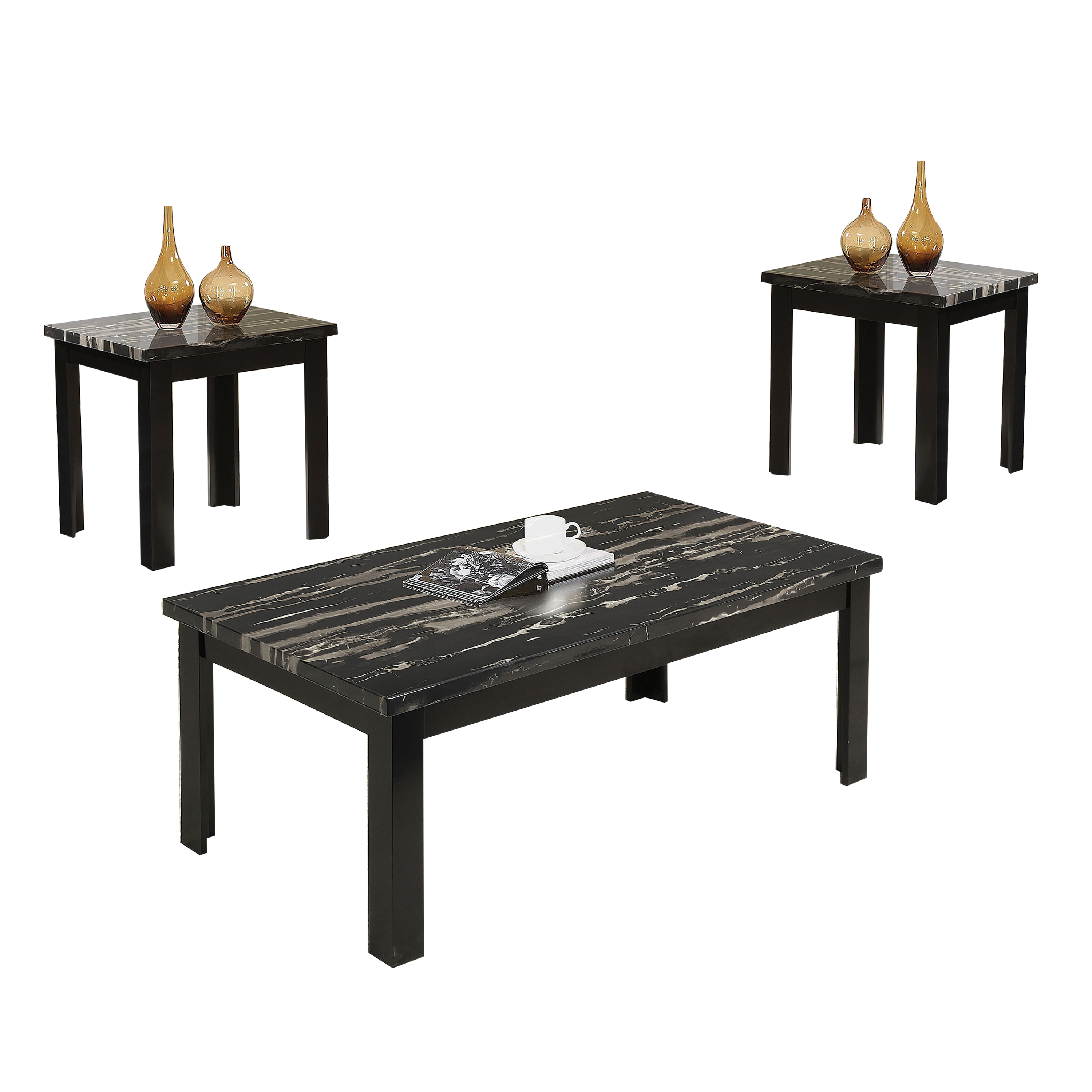 ACME Blythe 3-Piece Pack Coffee/End Table Set, Faux Marble & Black