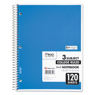 Spiral Bound Notebook, Perforated, College Rule, 11 x 8, White, 120 Sheets, Sold as 1 Each