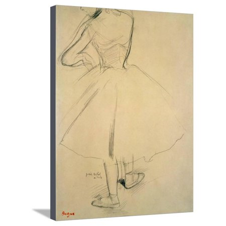 Ballet Dancer from Behind, 19th Century Figurative Women Art Sketch Stretched Canvas Print Wall Art By Edgar Degas