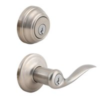 Kwikset 991 Tustin Keyed Entry Lever and Single Cylinder Deadbolt Combo Pack featuring SmartKey in Satin Nickel