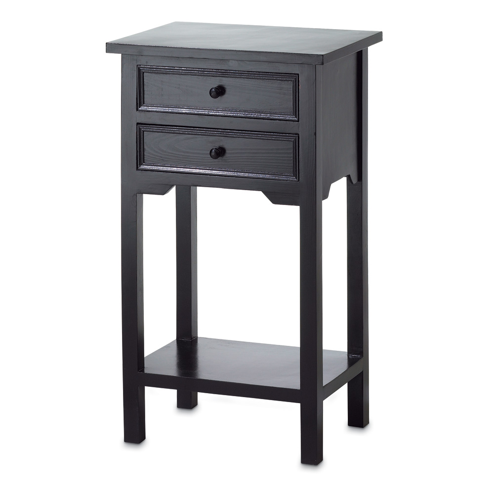 Side Table, Mdf Wood Black Modern Small Side Table With Storage