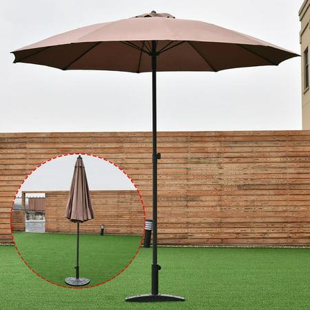 costway 8 2ft height adjustable outdoor patio umbrella market sun shade beech tan. Black Bedroom Furniture Sets. Home Design Ideas