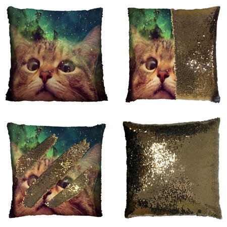 cd2208b6d1f GCKG Star Galaxy Outer Space Cute Cat Reversible Mermaid Sequin Pillow Case  Home Decor Cushion Cover 16x16 inches - Walmart.com