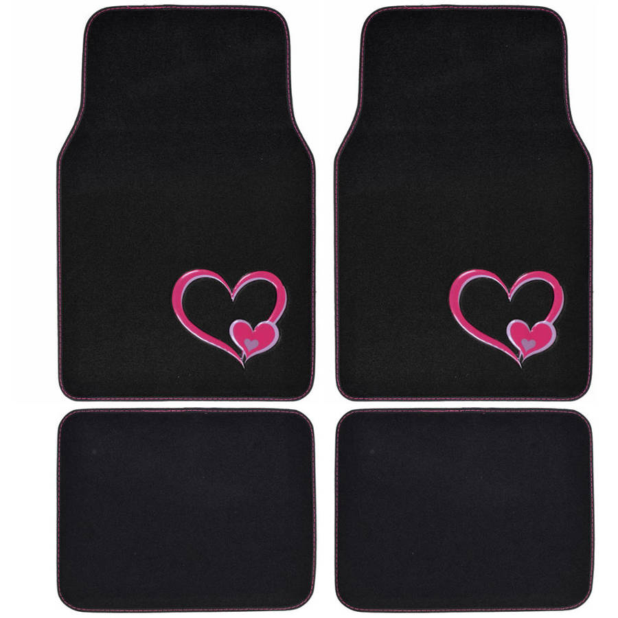 BDK Cute Pink Heart Design Carpet Floor Mats for Car SUV, 4 Piece Set