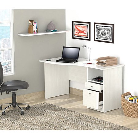 Inval Laura Collection Curved-Top Desk, Laricina-White Finish