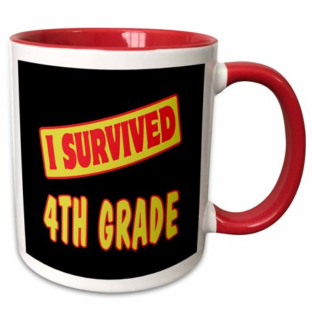 3dRose I Survived 4th Fourth Grade Survial Pride And Humor Design - Two Tone Red Mug, 11-ounce