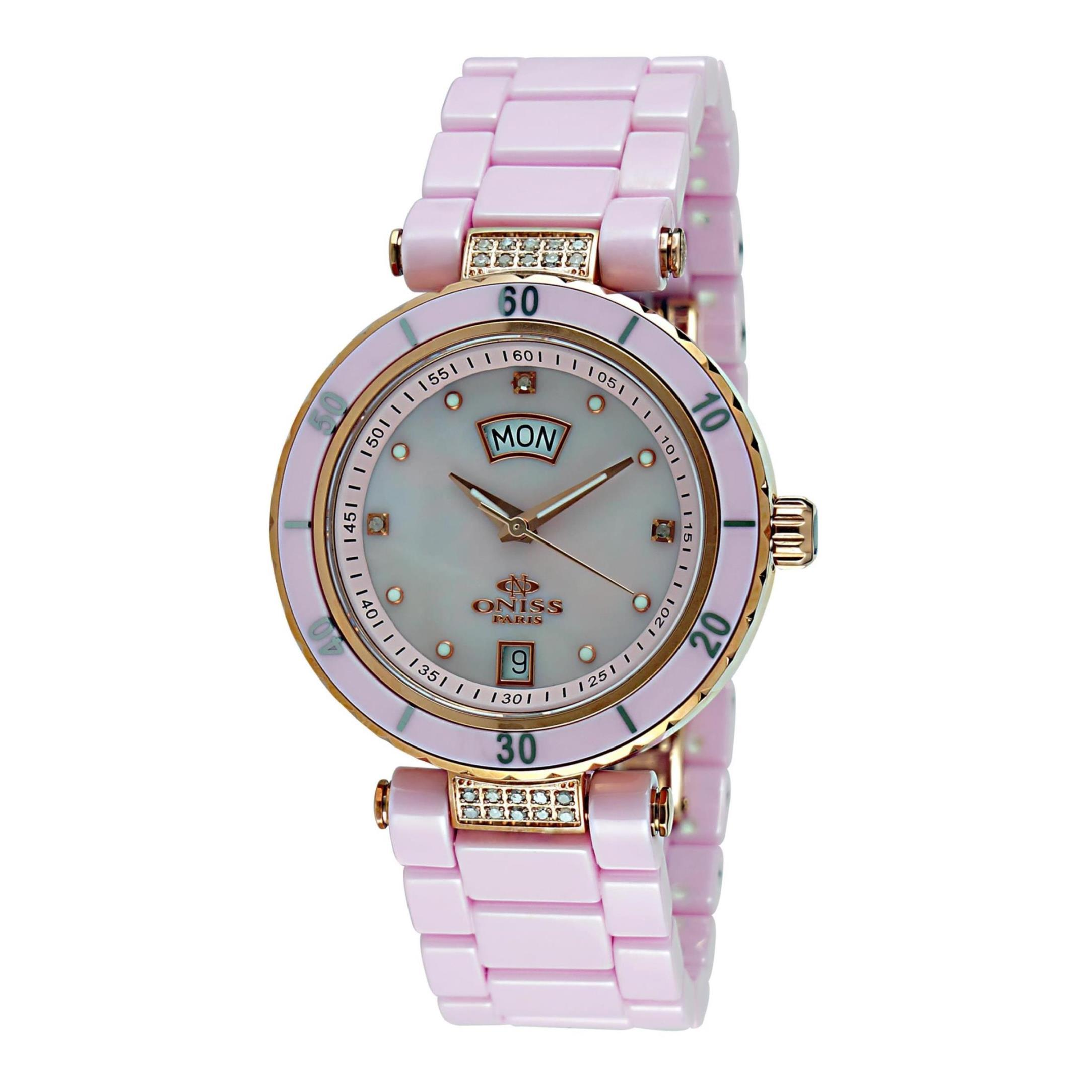 Oniss Women's Jewel 34mm Pink Ceramic Band Steel Case Sap...