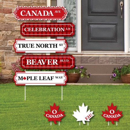 Canada Day - Street Sign Cutouts - Canadian Party Yard Signs & Decorations - Set of 8 - Halloween Cutouts For Yard