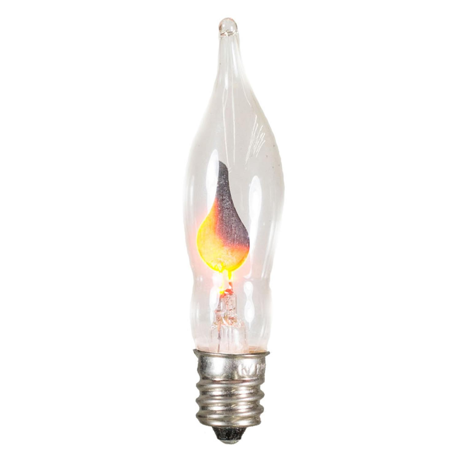 Club Pack of 25 Flicker Flame Amber C7 Christmas Replacement Light Bulbs