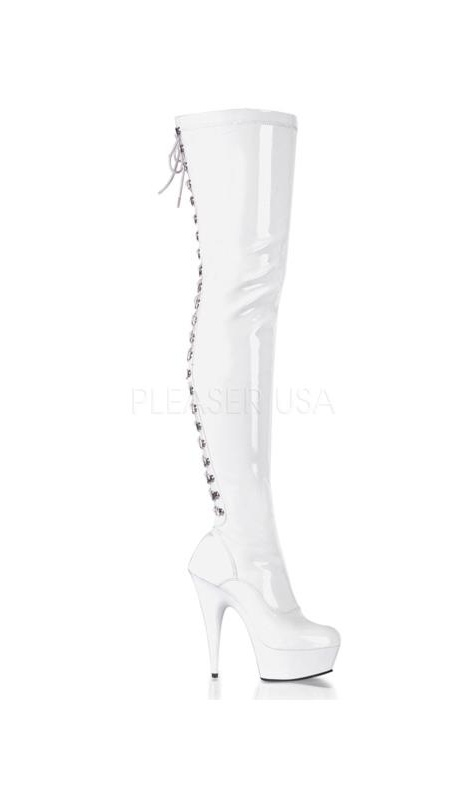 DEL3063/W/M Pleaser Platforms (Exotic Dancing) Thigh High Boots WHITE Size: 9