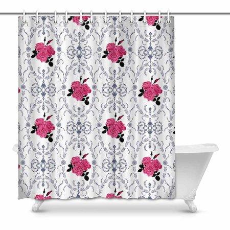 YUSDECOR Beautiful Purple Rose with Baroque Background Ornamental Illustration Decor Waterproof Polyester Bathroom Shower Curtain Bath Decorations 60x72 inch - image 1 of 1