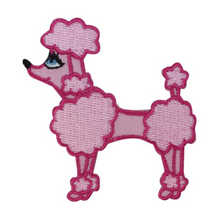 ID 2733 Pink Cotton Candy Poodle Patch Pretty Dog Embroidered Iron On - Poodle Skirt Applique