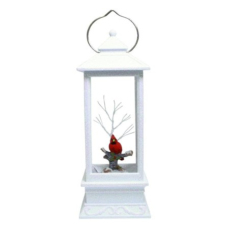 Winter Cardinal Swirl Lantern with LED Lit Confetti Snow Dome 11