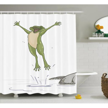 Jumping Frog Water - Frog Shower Curtain, Frog Jumping in Excitement in the Water Happy Toad Freedom Relax Lifestyle Humor, Fabric Bathroom Set with Hooks, 69W X 70L Inches, Olive Green Grey, by Ambesonne