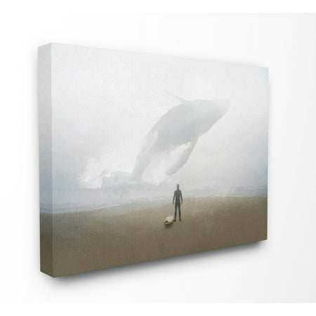 The Stupell Home Decor Collection Whale Surf Beach Painting Stretched Canvas Wall Art, 16 x 1.5 x - Surf Decor Ideas