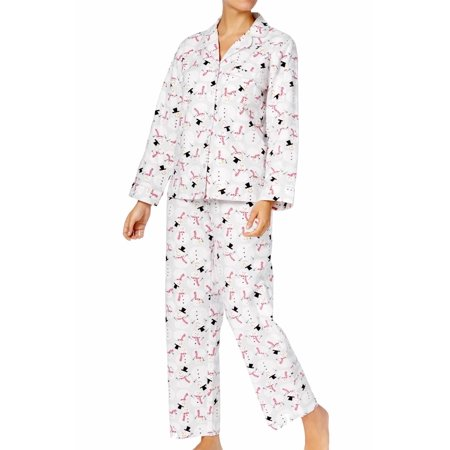 Charter Club Women's Printed Cotton Flannel Pajama Happy Snowman Size 2-Extra (Charter Club 2 Piece)
