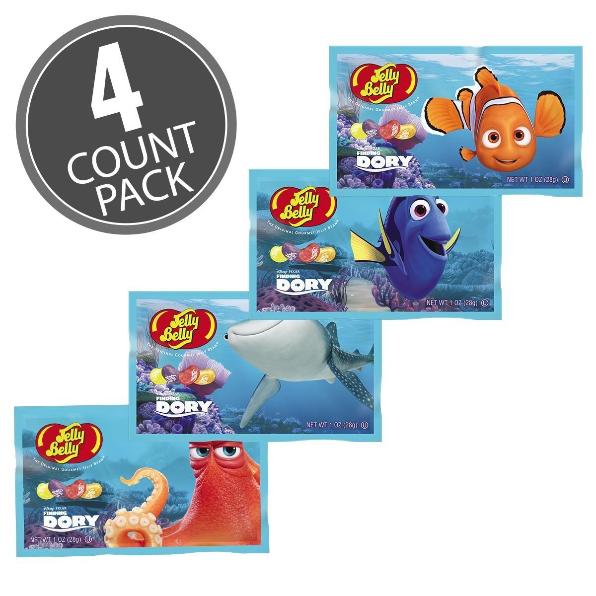 Jelly Belly Finding Dory Disney Pixar Jelly Beans 1 oz Bags (4 Pack) by