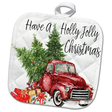 Christmas Red Truck.3drose Have A Holly Jolly Christmas Red Truck With Christmas Trees Pot Holder 8 By 8 Inch