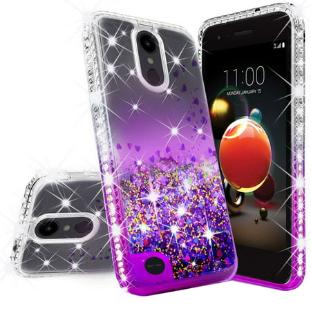 Rebel Floating - LG Rebel 4 LTE/Risio 3/Aristo 2 Plus/Rebel 3 Case w/[Tempered Glass Screen Protector], Glitter Liquid Quicksand Waterfall Floating Sparkle Shiny Bling Diamond Clear Girls Cute Case -Purple/Clear