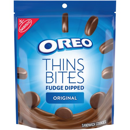 OREO Thins Bites Fudge Dipped Chocolate Sandwich Cookies, Original Flavor, 1 Resealable 6 oz Pack