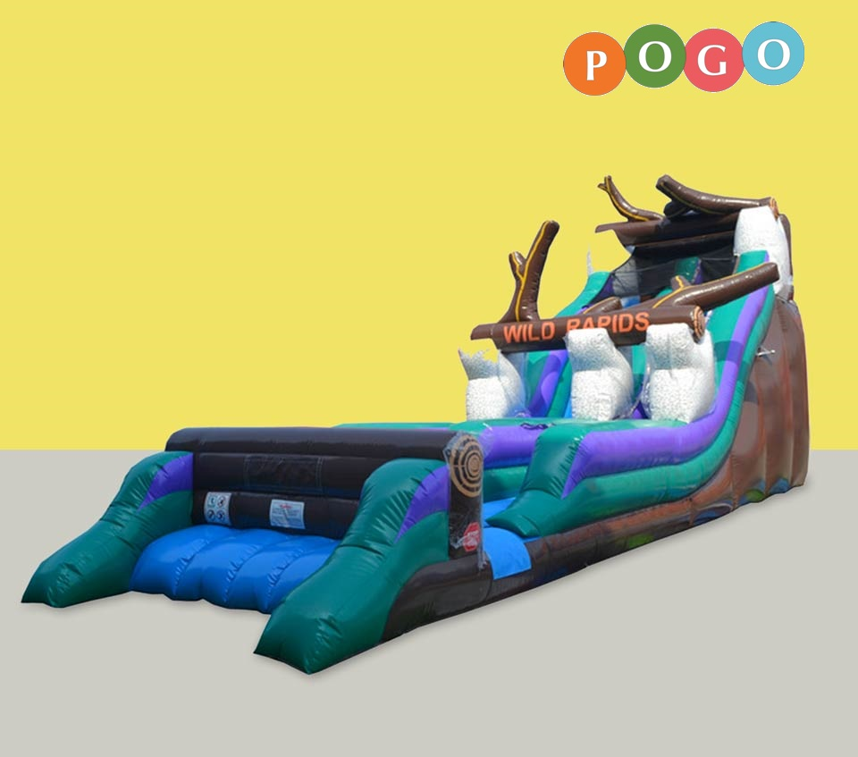 Click here to buy Pogo 21' Commercial Inflatable Wild Rapids Waterslide by Pogo Bounce House.
