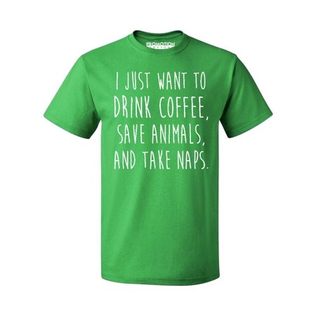 646a17437 Promotion & Beyond - P&B I Just want to Drink Coffee, Save Animals & Take  Naps Men's T-shirt, Green, 2XL - Walmart.com