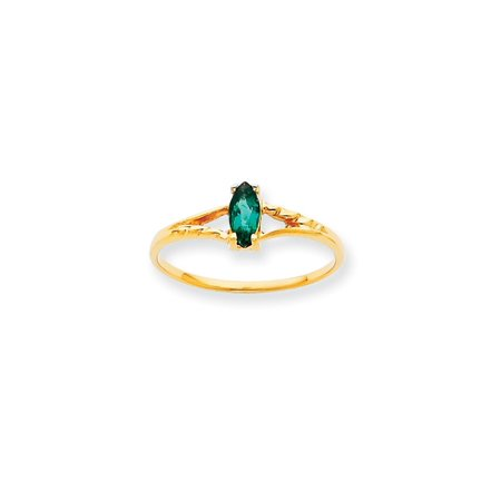 Solid 10k Yellow Gold Polished Emerald Simulated Birthstone Ring - Size 4