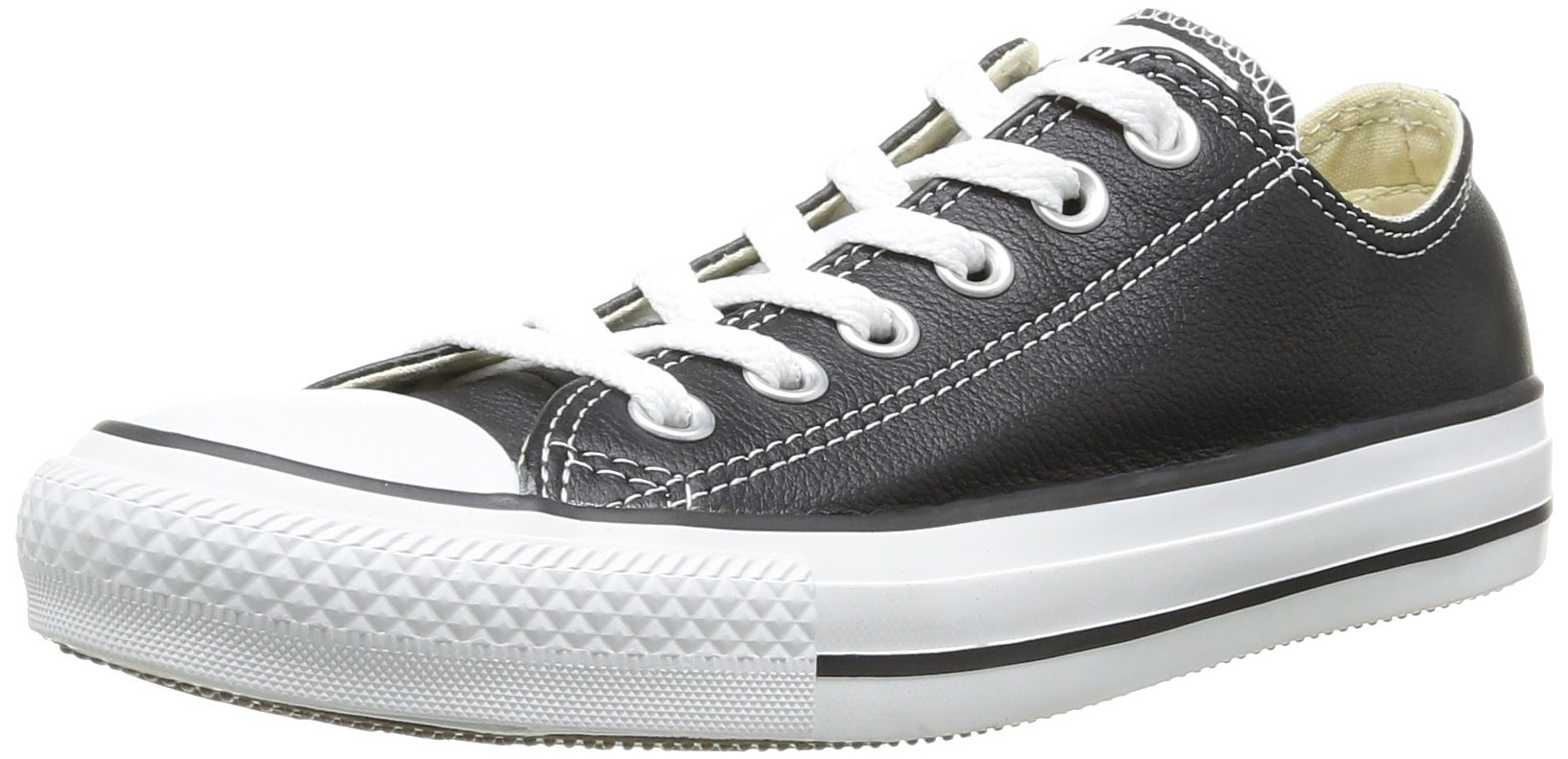 Converse All Star Synthetic Leather Low White Black Men Shoes 132174C by Converse