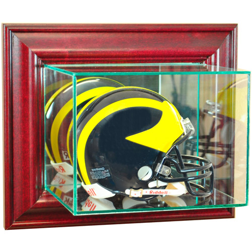 Perfect Cases Wall-Mounted Mini Helmet Display Case, Cherry Finish