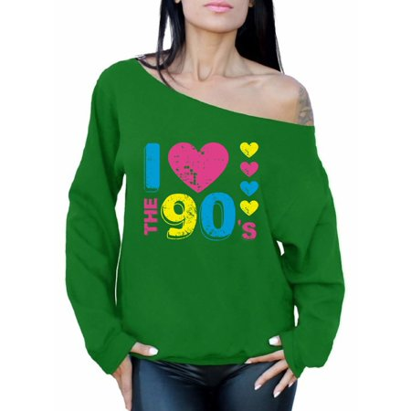 90s Outfit (Awkward Styles I Love The 90s Off The Shoulder Tops for Women Sweatshirts for 90s Fans 90s Women's Sweatshirt Tops I Love the 90's Sweater for Party 90s Disco Outfit)