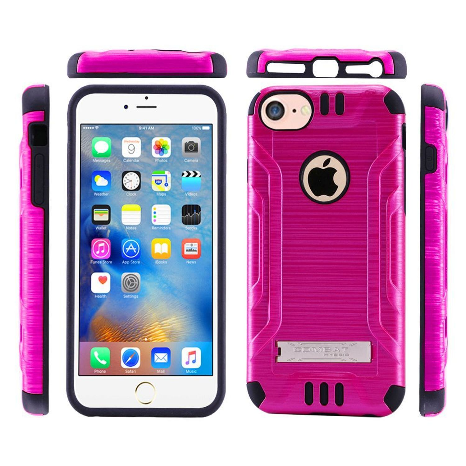 iPhone 7 Case, by Insten Dual Layer [Shock Absorbing] Hybrid Stand Hard Plastic/Soft TPU Rubber Case Cover for Apple iPhone 7, Hot Pink/Black