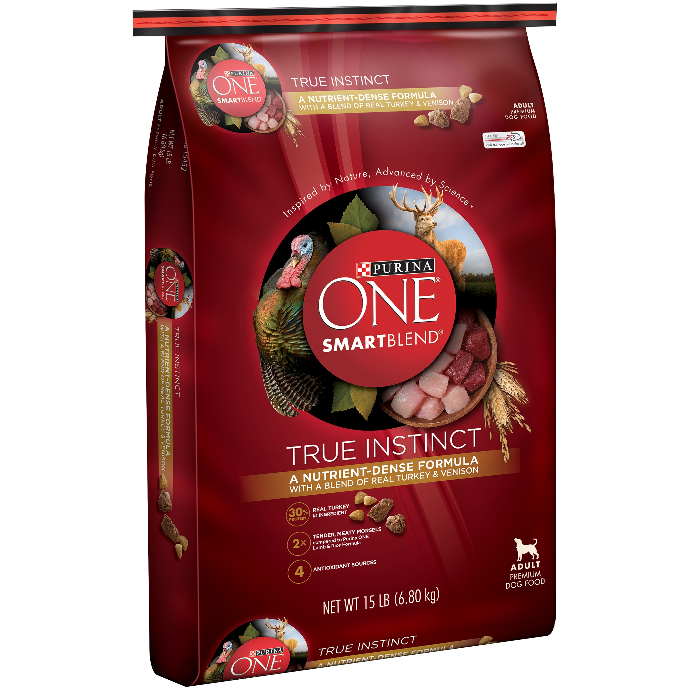 Purina ONE SmartBlend True Instinct with Real Turkey & Venison Adult Premium Dog Food 15 lb. Bag