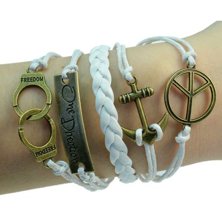 Fashion Jewelry vintage bronze handcuffs peace sign one direction anchor charms white braided leather rope bracelet -12