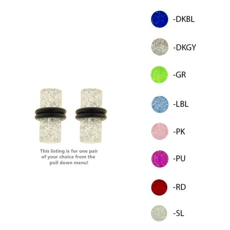 10g Gauge (Lex & Lu Pair of Acrylic UV Sensitive Glitter Ear Plugs w/O-Rings 10G Thru 0 Gauge )