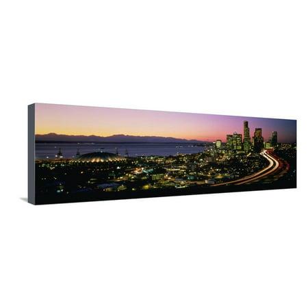 Sunset Skyline Seattle Wa USA Stretched Canvas Print Wall Art