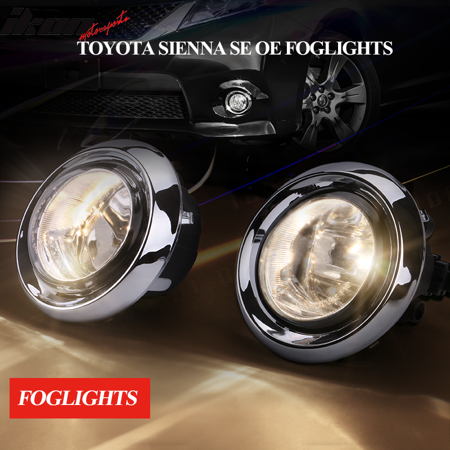 - Fits 17-18 Toyota Sienna SE OE Style Foglights Kit ABS Black Housing Clear Lens