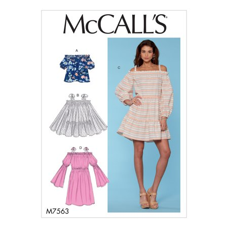 McCall's Sewing Pattern Misses' Off-the-Shoulder, Gathered Top, Tiered Tunic and (Sling Sewing Pattern)